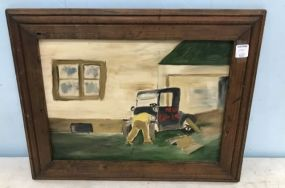 Oil Painting of Canvas of Building and Trunk