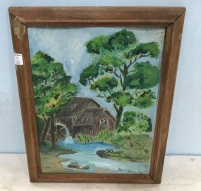 Painting on Canvas of River Mill