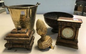 Decorative Bucket, Compote, Clock, Trinket, and Pineapple