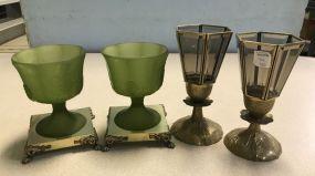 Vintage Brass Base Candle Holders