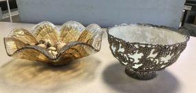 Art Glass Center Piece Bowl and Meta Fruit Bowl