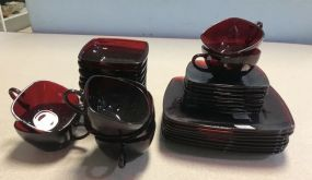 Ruby Red Dinner Ware Partial Set