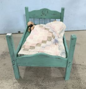Painted Four Poster Doll Bed