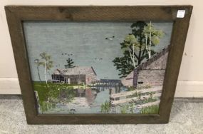 Needle Work Art of Boat House in Bay