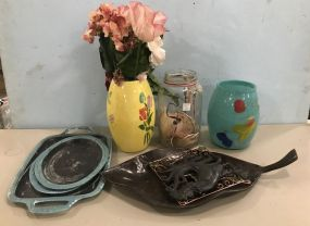 Glass Vases and Metal Decor