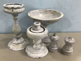 Painted White Compote, Candle Holders, and Salt & Pepper
