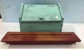 Painted Blue Wood Bread Box