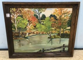 Painting of Pond and Landscape