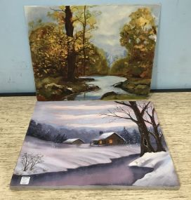 Two Landscape Paintings on Canvas