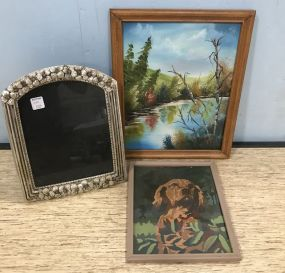 Two Paintings and Floral Frame