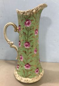 Beautiful Bavarian Style Hand Painted Rose Pitcher