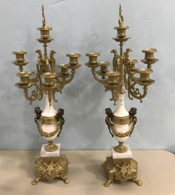Antique Reproduction Brass & Alabaster Candelabras