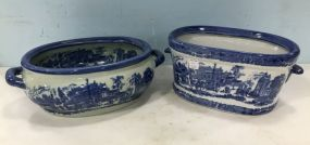 Two Large Ironstone Blue & White Planters