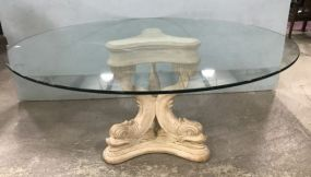 Large Round Glass Top Table