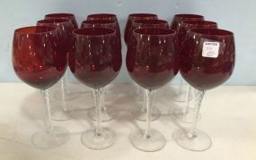 Tall Ruby Red Wine Stemware