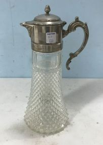 Silverplate & Glass Caraffe Pitcher With Glass Ice Tube