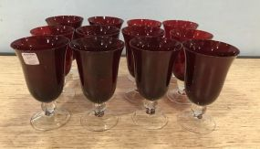12 Ruby Red Glass Goblets