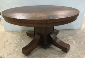 Antique Mission Style Oak Round Dinning Table