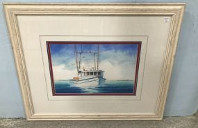 Frame Fishing Boat Watercolor by John Gorday