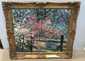 Azaleas Painting on Board by Bettye Bittel