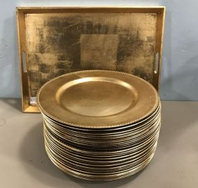 Modern Gold Gilt Beaded Chargers and Tray