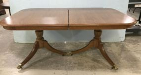 Bassett Oak Finish Double Pedestal Dinning Table