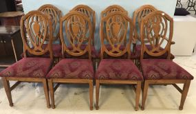 Eight Bassett Oak Finish Dinning Chairs