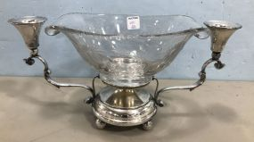 Silver Plate Two Arm Centerpiece Cut Glass Bowl