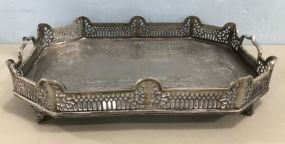 Ornate Silver Plated Footed Tray