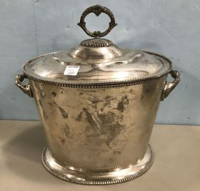 Large Silver Plate Handled Bucket