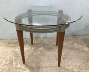 Contemporary Style Round Glass Top Table