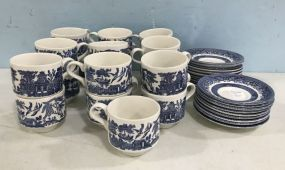 Group of Blue Willow Style China