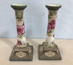 Pair of Nippon Marriage Candle Sticks
