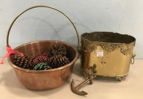 Copper Bucket and Handled Pot