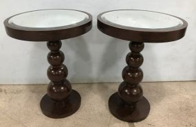 Pair of Contemporary Style Round Mirrored Top Accent Table