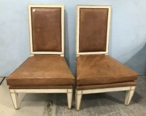 Pair of French Provincial Style Leather Chairs
