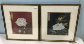 Pair of Oriental Style Flower Block Prints