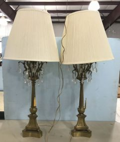 Pair of French Column Style Brass Lamps