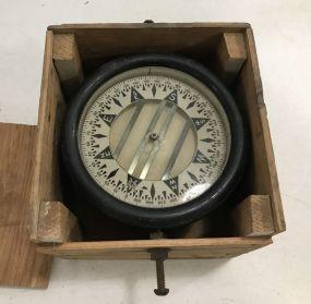 Antique Ship Compass Instrument