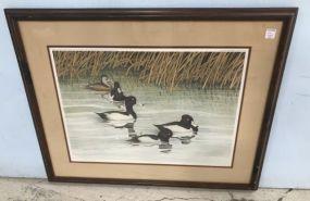Framed Ducks Print Artist Signed