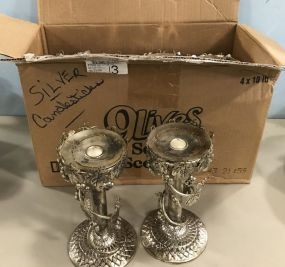 Studio Silver Plate Grapevine Candle Holders