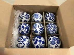 Nine Blue & White Decorative Balls
