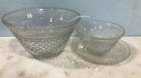 Diamond Pattern Glass Punch Bowls