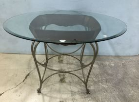 Contemporary Metal Base Glass Dinning Table