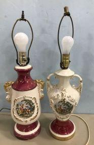 Two Porcelain Hand Painted Portrait Table Lamps