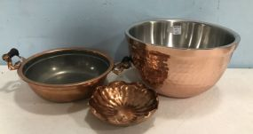 Three Copper Dish and Bowls