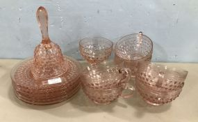 Group of Pink Hobnail Glassware