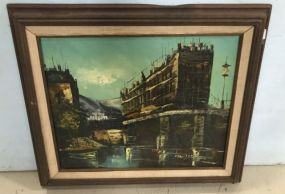 Vintage Painting of City Scene by Madison