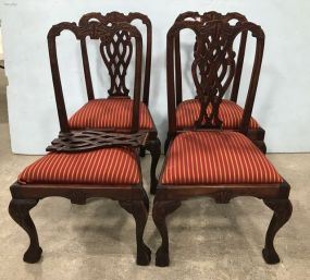 Four Reproduction Chippendale Style Dinning Chairs