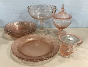 Group of Pink Depression and Modern Pink Glassware
